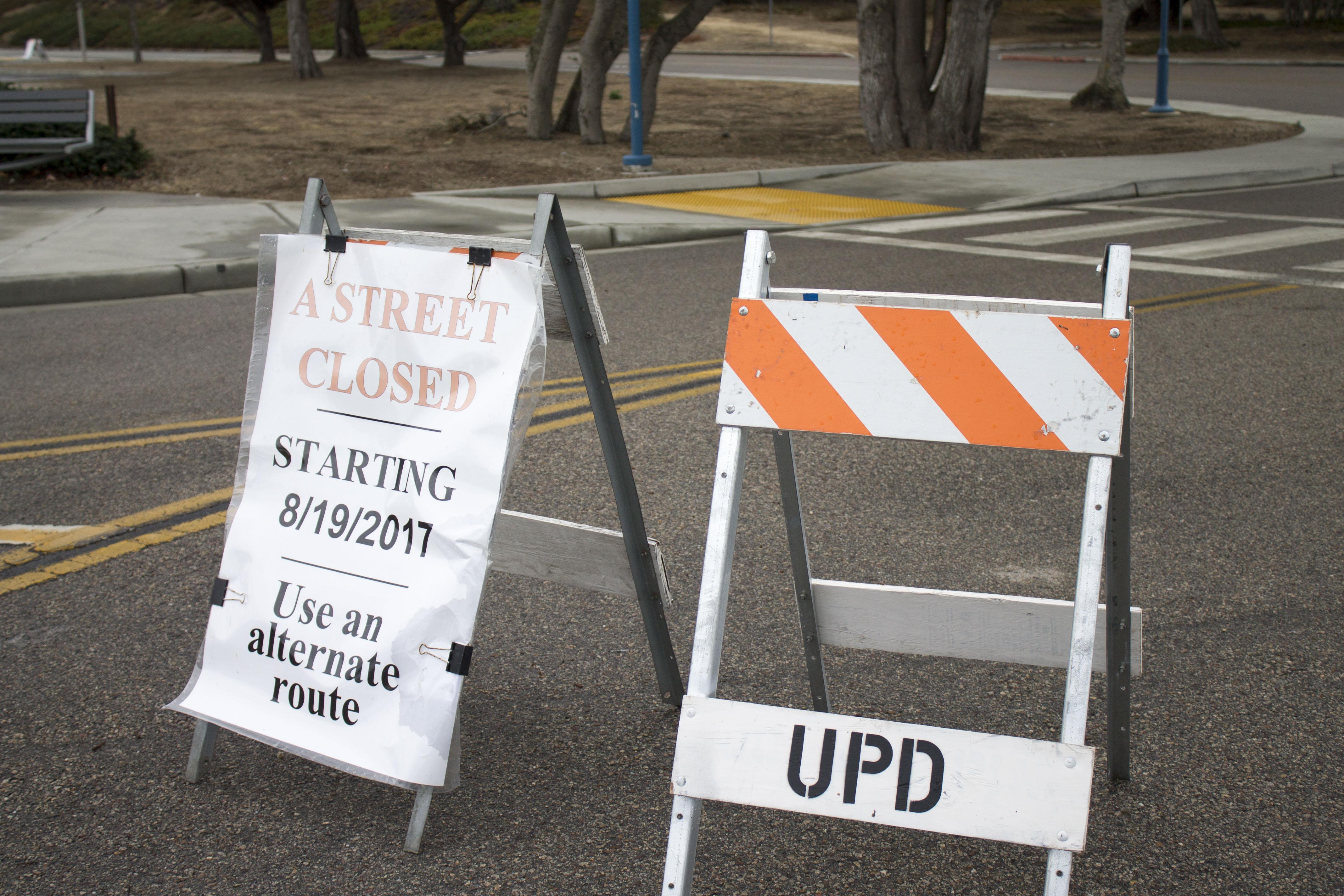Street closure signs.