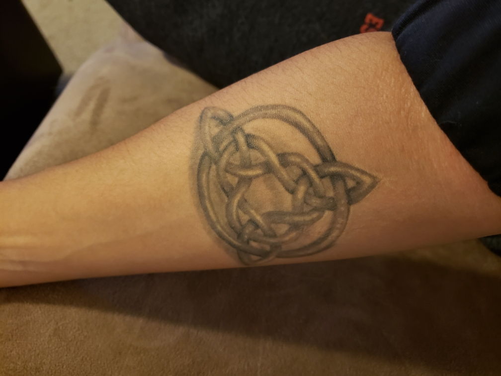Photo of Danielle Jackson's tattoo, a Celtic knot known as the triquetra
